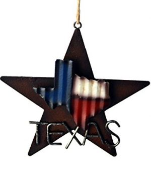 AR Country Store Western Rustic Lone Star 3 D Texas Map Christmas Ornament MetalTin Or Tree Or Wall Hanging 0 300x360