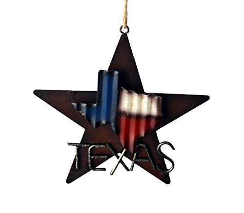 AR Country Store Western Rustic Lone Star 3 D Texas Map Christmas Ornament MetalTin Or Tree Or Wall Hanging 0