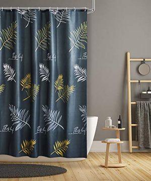ARICHOMY Shower Curtains For Bathroom Fabric Bath Curtain Set Waterproof Gray Leaf Standard Size 72 By 72 0 300x360
