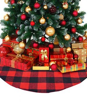 ATLIN Buffalo Plaid Christmas Tree Skirt Larger 3 Inch Red And Black Checks For A Traditional Look Machine Wash And Dry 3 Ft And 4 Ft Diameter Options 0 300x360