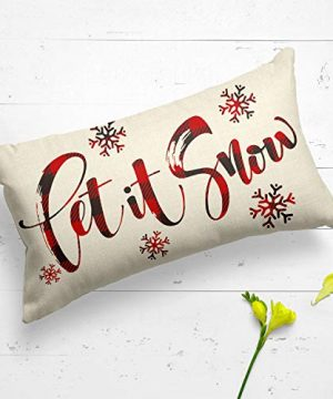 AVOIN Buffalo Plaid Let It Snow Throw Pillow Cover 12 X 20 Inch Winter Christmas Holiday Farmhouse Linen Cushion Case Decoration For Sofa Couch 0 2 300x360