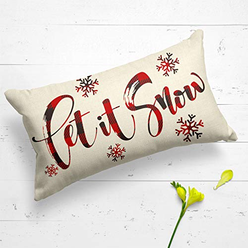 AVOIN Buffalo Plaid Let It Snow Throw Pillow Cover 12 X 20 Inch Winter Christmas Holiday Farmhouse Linen Cushion Case Decoration For Sofa Couch 0 2