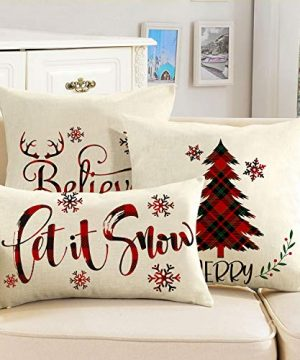 AVOIN Buffalo Plaid Let It Snow Throw Pillow Cover 12 X 20 Inch Winter Christmas Holiday Farmhouse Linen Cushion Case Decoration For Sofa Couch 0 3 300x360