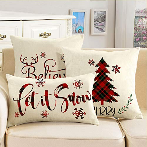 AVOIN Buffalo Plaid Let It Snow Throw Pillow Cover 12 X 20 Inch Winter Christmas Holiday Farmhouse Linen Cushion Case Decoration For Sofa Couch 0 3