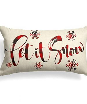 AVOIN Buffalo Plaid Let It Snow Throw Pillow Cover 12 X 20 Inch Winter Christmas Holiday Farmhouse Linen Cushion Case Decoration For Sofa Couch 0 300x360
