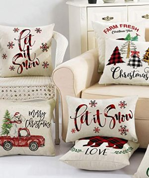 AVOIN Buffalo Plaid Let It Snow Throw Pillow Cover 12 X 20 Inch Winter Christmas Holiday Farmhouse Linen Cushion Case Decoration For Sofa Couch 0 4 300x360