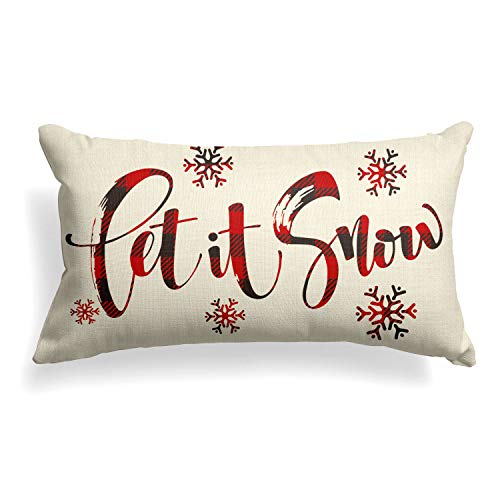 AVOIN Buffalo Plaid Let It Snow Throw Pillow Cover 12 X 20 Inch Winter Christmas Holiday Farmhouse Linen Cushion Case Decoration For Sofa Couch 0