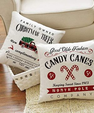AVOIN Christmas Throw Pillow Cover 18 X 18 Inch Winter Holiday Rustic Farmhouse Linen Cushion Case For Sofa Couch Set Of 4 0 3 300x360