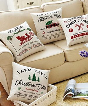 AVOIN Christmas Throw Pillow Cover 18 X 18 Inch Winter Holiday Rustic Farmhouse Linen Cushion Case For Sofa Couch Set Of 4 0 4 300x360
