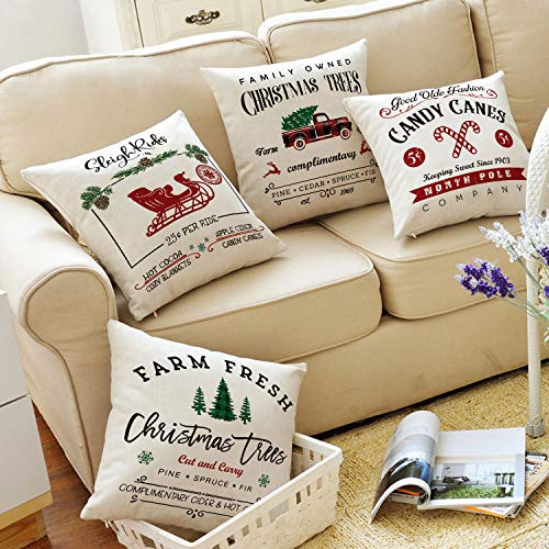AVOIN Christmas Throw Pillow Cover 18 X 18 Inch Winter Holiday Rustic Farmhouse Linen Cushion Case For Sofa Couch Set Of 4 0 4