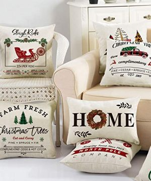 AVOIN Christmas Throw Pillow Cover 18 X 18 Inch Winter Holiday Rustic Farmhouse Linen Cushion Case For Sofa Couch Set Of 4 0 5 300x360
