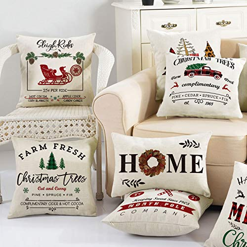 Miraculous Avoin Christmas Throw Pillow Cover 18 X 18 Inch Winter Holiday Rustic Farmhouse Linen Cushion Case For Sofa Couch Set Of 4 Dailytribune Chair Design For Home Dailytribuneorg