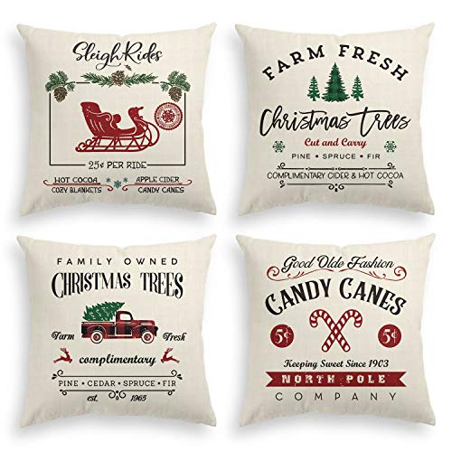 Wondrous Avoin Christmas Throw Pillow Cover 18 X 18 Inch Winter Holiday Rustic Farmhouse Linen Cushion Case For Sofa Couch Set Of 4 Dailytribune Chair Design For Home Dailytribuneorg