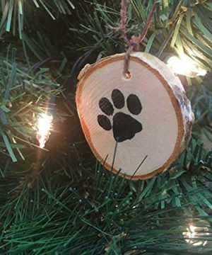 Abnormal Creations Rustic Paw Print Birch Slice Tree Holiday Ornament Gift Packaged 0 1 300x360