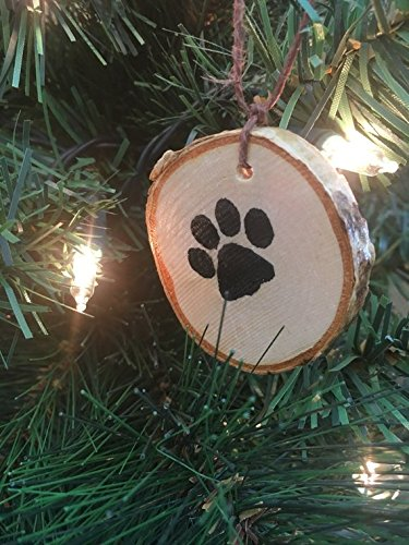 Abnormal Creations Rustic Paw Print Birch Slice Tree Holiday Ornament Gift Packaged 0 1