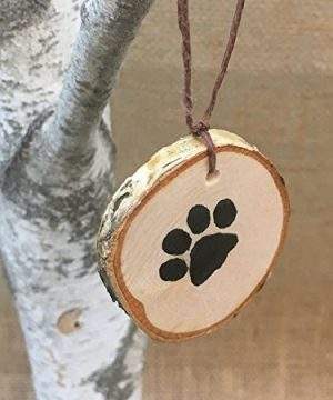 Abnormal Creations Rustic Paw Print Birch Slice Tree Holiday Ornament Gift Packaged 0 2 300x360