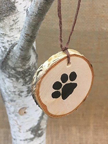 Abnormal Creations Rustic Paw Print Birch Slice Tree Holiday Ornament Gift Packaged 0 2