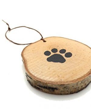 Abnormal Creations Rustic Paw Print Birch Slice Tree Holiday Ornament Gift Packaged 0 3 300x360