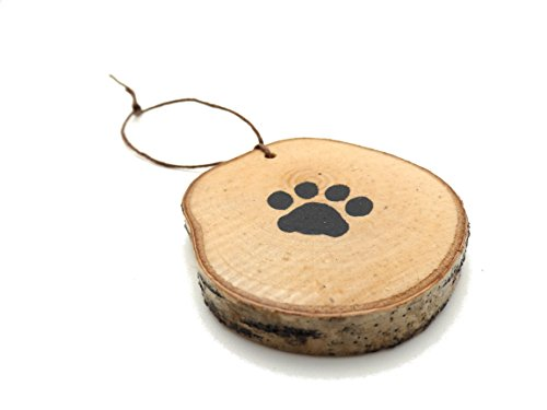 Abnormal Creations Rustic Paw Print Birch Slice Tree Holiday Ornament Gift Packaged 0 3