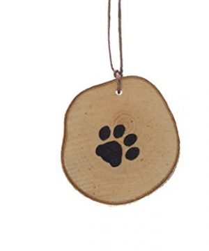 Abnormal Creations Rustic Paw Print Birch Slice Tree Holiday Ornament Gift Packaged 0 300x360