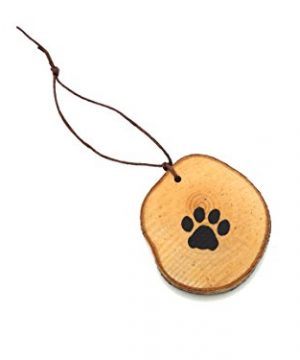 Abnormal Creations Rustic Paw Print Birch Slice Tree Holiday Ornament Gift Packaged 0 4 300x360