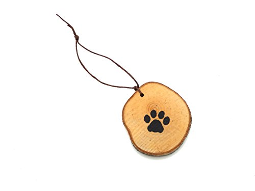 Abnormal Creations Rustic Paw Print Birch Slice Tree Holiday Ornament Gift Packaged 0 4