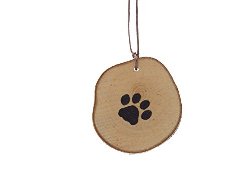 Abnormal Creations Rustic Paw Print Birch Slice Tree Holiday Ornament Gift Packaged 0