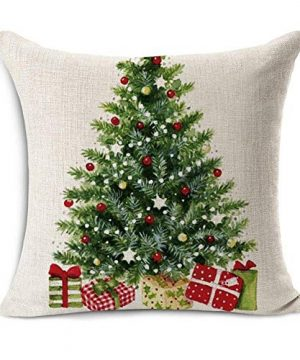 Acelive 20 X 20 Inches Merry Christmas Tree Santa Series Cotton Linen Square Throw Pillow Case Decorative Cushion Cover Pillowcase Cushion Case For Sofa Office Decorative Square Set Of 4 0 0 300x360