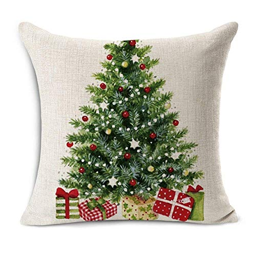 Acelive 20 X 20 Inches Merry Christmas Tree Santa Series Cotton Linen Square Throw Pillow Case Decorative Cushion Cover Pillowcase Cushion Case For Sofa Office Decorative Square Set Of 4 0 0
