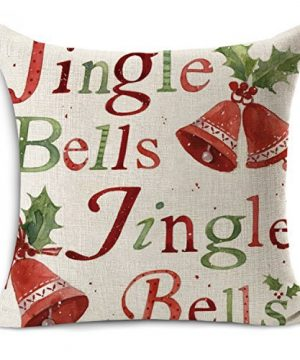 Acelive 20 X 20 Inches Merry Christmas Tree Santa Series Cotton Linen Square Throw Pillow Case Decorative Cushion Cover Pillowcase Cushion Case For Sofa Office Decorative Square Set Of 4 0 1 300x360
