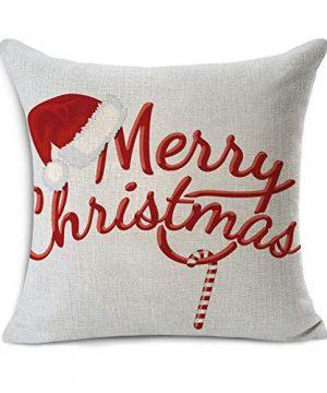 Acelive 20 X 20 Inches Merry Christmas Tree Santa Series Cotton Linen Square Throw Pillow Case Decorative Cushion Cover Pillowcase Cushion Case For Sofa Office Decorative Square Set Of 4 0 2 300x360