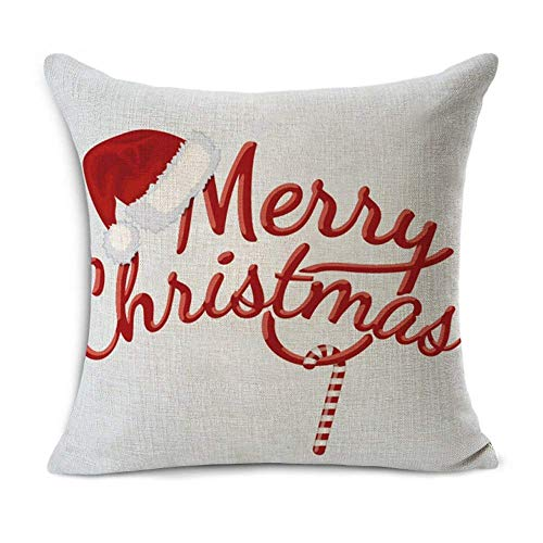 Acelive 20 X 20 Inches Merry Christmas Tree Santa Series Cotton Linen Square Throw Pillow Case Decorative Cushion Cover Pillowcase Cushion Case For Sofa Office Decorative Square Set Of 4 0 2