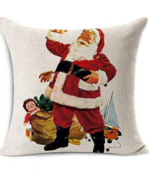 Acelive 20 X 20 Inches Merry Christmas Tree Santa Series Cotton Linen Square Throw Pillow Case Decorative Cushion Cover Pillowcase Cushion Case For Sofa Office Decorative Square Set Of 4 0 3 300x360