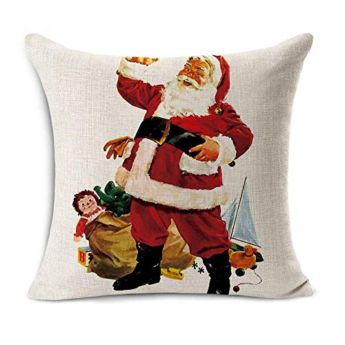 Acelive 20 X 20 Inches Merry Christmas Tree Santa Series Cotton Linen Square Throw Pillow Case Decorative Cushion Cover Pillowcase Cushion Case For Sofa Office Decorative Square Set Of 4 0 3
