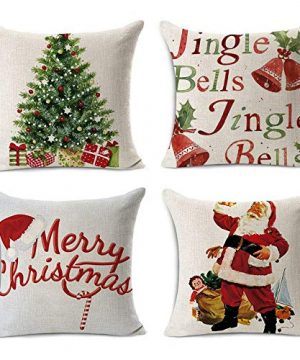 Acelive 20 X 20 Inches Merry Christmas Tree Santa Series Cotton Linen Square Throw Pillow Case Decorative Cushion Cover Pillowcase Cushion Case For Sofa Office Decorative Square Set Of 4 0 300x360