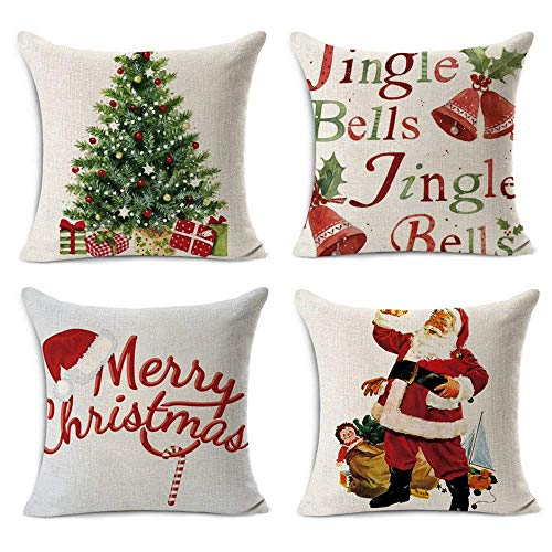 Acelive 20 X 20 Inches Merry Christmas Tree Santa Series Cotton Linen Square Throw Pillow Case Decorative Cushion Cover Pillowcase Cushion Case For Sofa Office Decorative Square Set Of 4 0