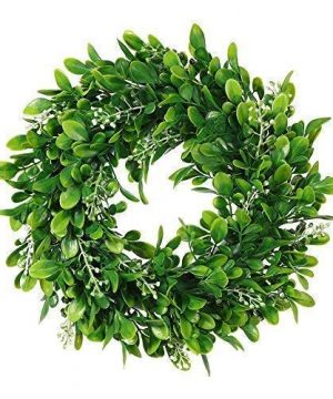 Adeeing Round Wreath Artificial Wreath Green Leaves For Door Wall Window Decoration Wedding Party Christmas Dcor 11 Inches 0 300x360