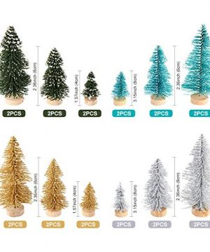 AerWo 24PCS Artificial Mini Christmas Trees Ornaments Frosted Sisal Trees With Wood Base Bottle Brush Trees Winter DIY Crafts For Home Table Top Decor4 Colors And 3 Sizes 0 0 300x360