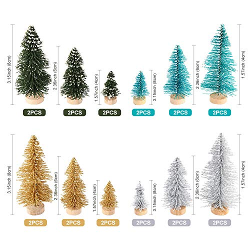 AerWo 24PCS Artificial Mini Christmas Trees Ornaments Frosted Sisal Trees With Wood Base Bottle Brush Trees Winter DIY Crafts For Home Table Top Decor4 Colors And 3 Sizes 0 0