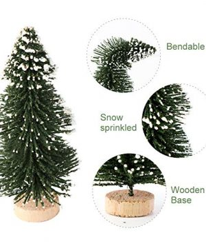 AerWo 24PCS Artificial Mini Christmas Trees Ornaments Frosted Sisal Trees With Wood Base Bottle Brush Trees Winter DIY Crafts For Home Table Top Decor4 Colors And 3 Sizes 0 1 300x360