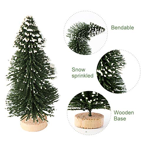 AerWo 24PCS Artificial Mini Christmas Trees Ornaments Frosted Sisal Trees With Wood Base Bottle Brush Trees Winter DIY Crafts For Home Table Top Decor4 Colors And 3 Sizes 0 1