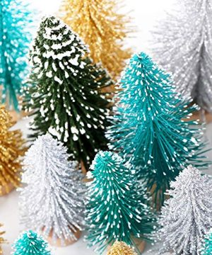 AerWo 24PCS Artificial Mini Christmas Trees Ornaments Frosted Sisal Trees With Wood Base Bottle Brush Trees Winter DIY Crafts For Home Table Top Decor4 Colors And 3 Sizes 0 2 300x360