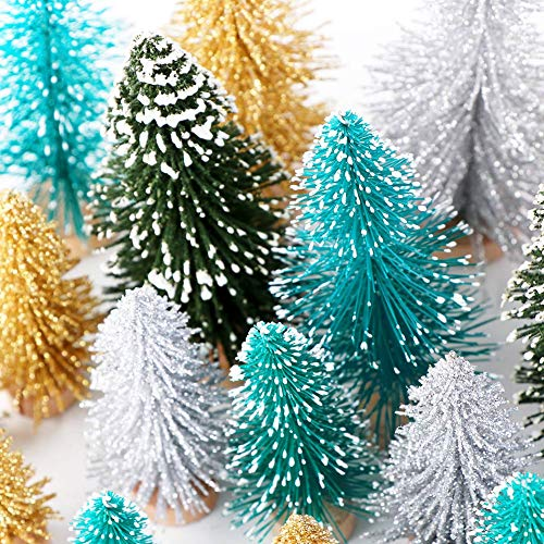 AerWo 24PCS Artificial Mini Christmas Trees Ornaments Frosted Sisal Trees With Wood Base Bottle Brush Trees Winter DIY Crafts For Home Table Top Decor4 Colors And 3 Sizes 0 2