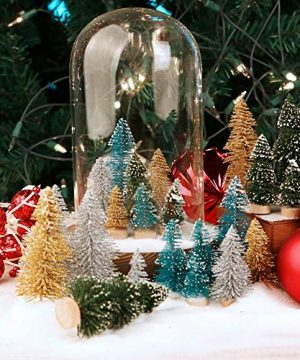 AerWo 24PCS Artificial Mini Christmas Trees Ornaments Frosted Sisal Trees With Wood Base Bottle Brush Trees Winter DIY Crafts For Home Table Top Decor4 Colors And 3 Sizes 0 3 300x360