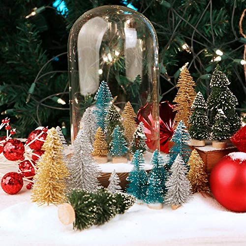 AerWo 24PCS Artificial Mini Christmas Trees Ornaments Frosted Sisal Trees With Wood Base Bottle Brush Trees Winter DIY Crafts For Home Table Top Decor4 Colors And 3 Sizes 0 3