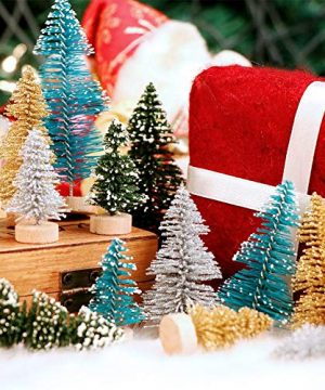 AerWo 24PCS Artificial Mini Christmas Trees Ornaments Frosted Sisal Trees With Wood Base Bottle Brush Trees Winter DIY Crafts For Home Table Top Decor4 Colors And 3 Sizes 0 4 300x360