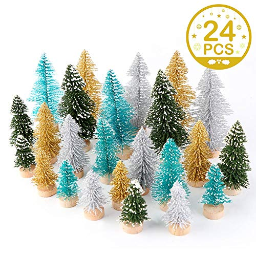 AerWo 24PCS Artificial Mini Christmas Trees Ornaments Frosted Sisal Trees With Wood Base Bottle Brush Trees Winter DIY Crafts For Home Table Top Decor4 Colors And 3 Sizes 0