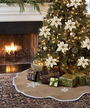 AerWo Burlap Snowflake Christmas Tree Skirt Ornament 48inch Diameter Christmas Decoration New Year Party Supply 0 300x360