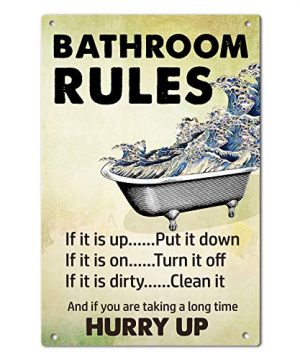 Agantree Art Bathroom Rules Metal Sign Decorative Metal Plaque 12 X 8 Inch 0 300x360