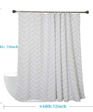 Aimjerry Hotel Quality White Striped Fabric Shower Curtain For Bathroom 72 X 72 Inch 0 0 300x360